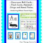 These cards, strips and charts are perfect to hang up in the therapy room or classroom for visual reminders.  For  each font, there is one letter p...