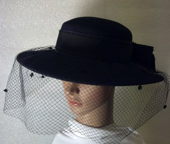 Veiled Black Wide Brim Hat Be A Lady Of Mystery In Black Fancy Veil With Grosgrain Band Bow Evening Hat Black Wide Brim Hat Wide Brim Hat Black Bow Funeral Ribbons