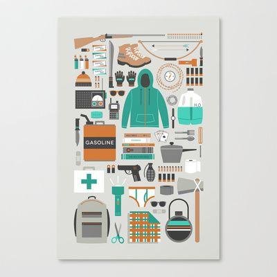 Zombie Survival Kit Stretched Canvas by Zeke Tucker - $85.00