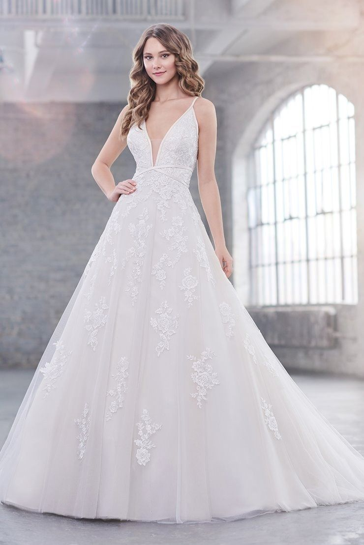 Lace A Line Wedding Dress With Satin Trim Detail Along The Straps Martin Thornburg 219215 In 2020 Wedding Dresses Wedding Dresses Unique A Line Wedding Dress