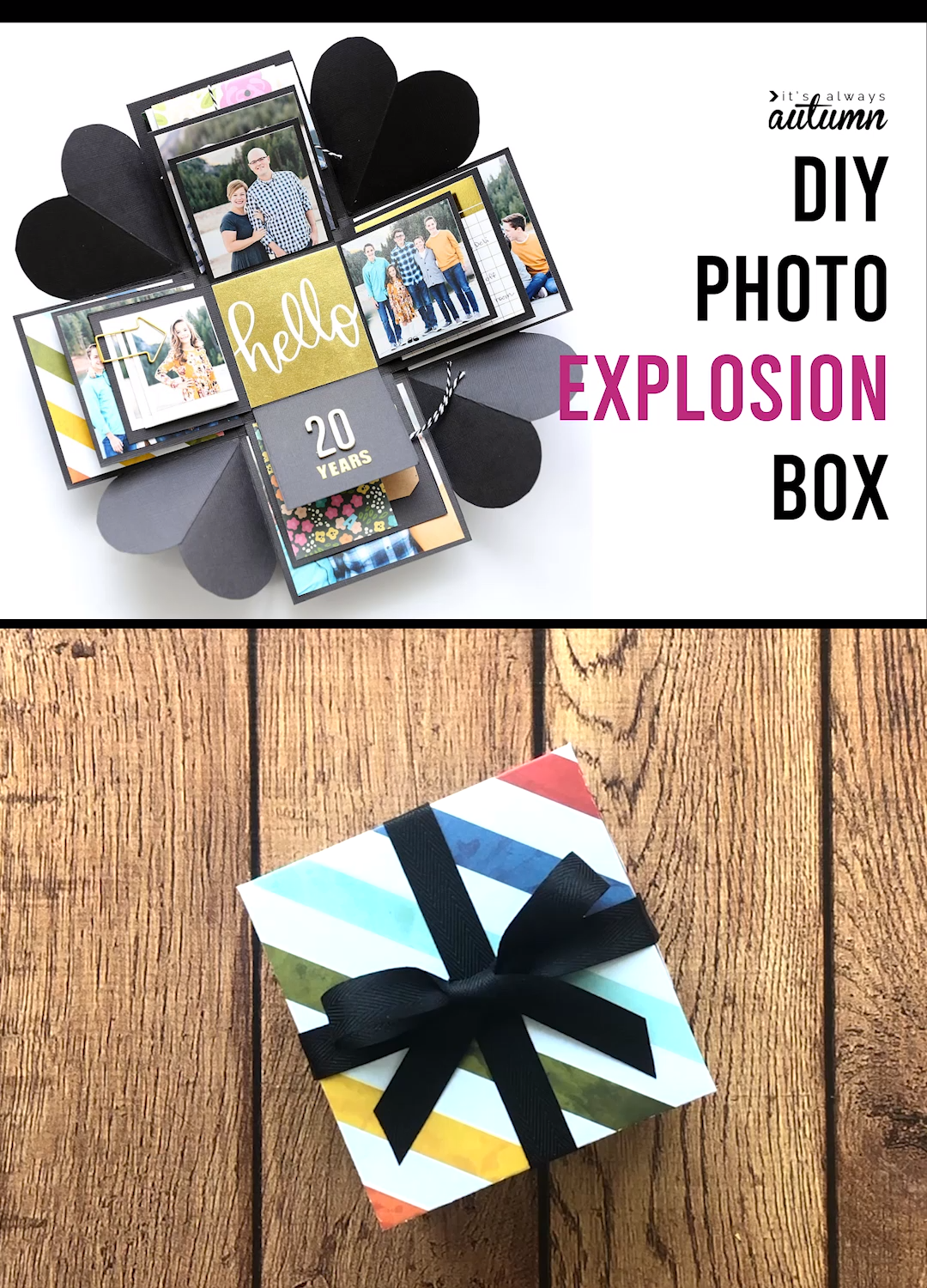 An explosion box is a cool DIY gift that's cheap and easy to make! Great idea for Mother's Day, Father's Day, an anniversary, a boyfriend gift, etc.