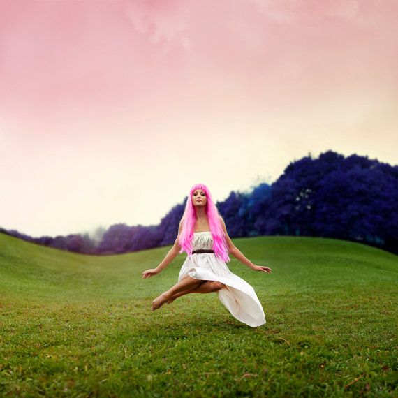 Fine Art Photography Print Levitating Woman In Field Floating Pink Hair Surreal Portrait 16 X