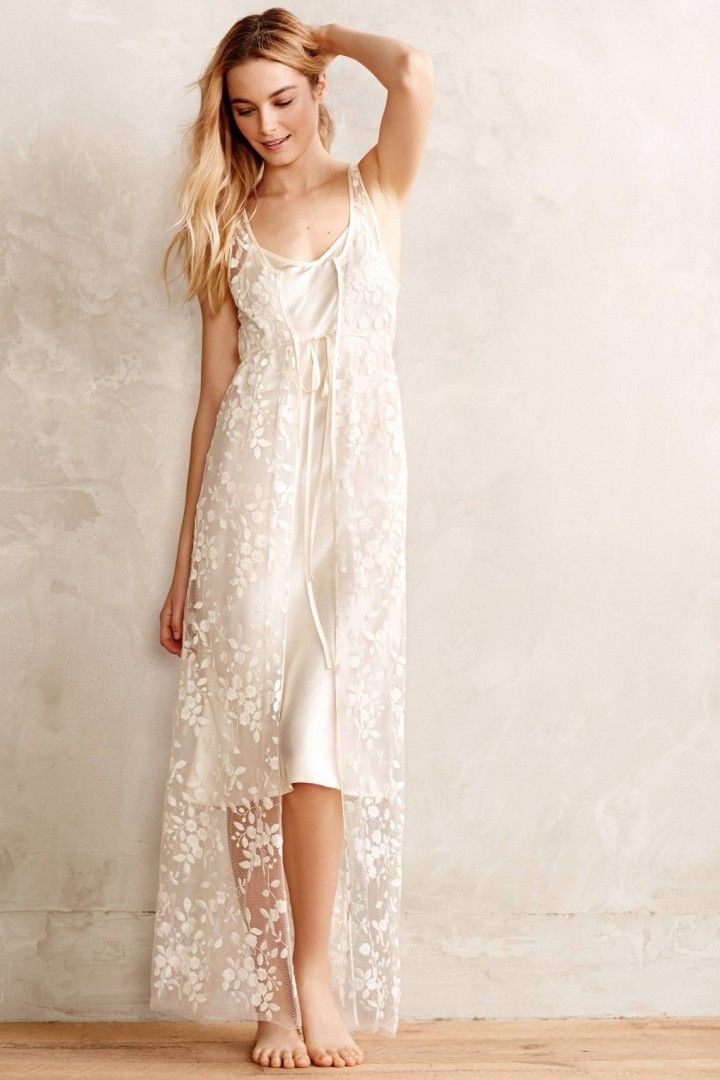 Y Cly Bridal To Wear On Your Wedding Night Sugared Lace Peignoir Via Anthropologie