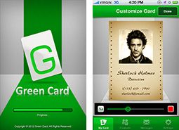 Green Card mobile app enables the users to create and share  their own visiting card with everyone.
