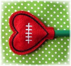 Australian Football heart pencil topper