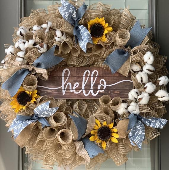 Photo of Sunflower Wreath for Front door, Fall decorations, Hello Wreath, Burlap Fall wreath Mesh Hello Wreat