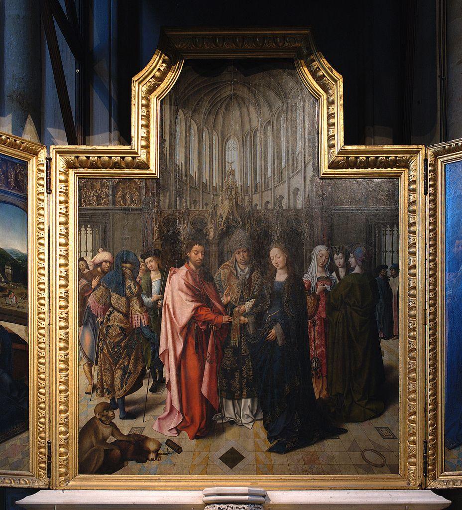 Lier, Vlaanderen, Sint-Gummaruskerk, Goossen van der Weyden, the marriage of the virgin, center panel  wedding of Mary & Joseph