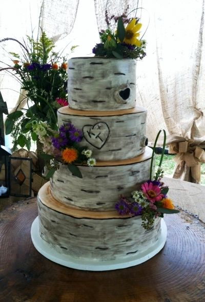 Birch Tree Wedding Cake with Texas wild flowers instead and the bird toppers!!!