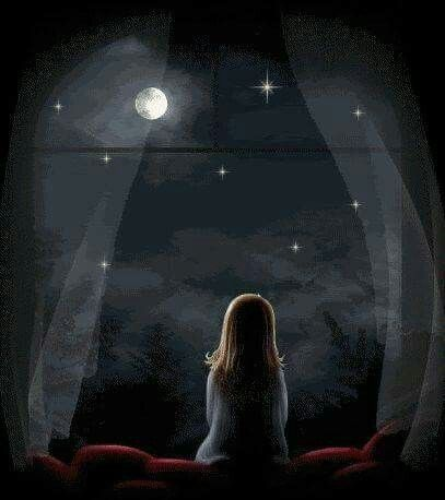 Little Girl Looking At The Stars Cool Drawings Night Sky Stars