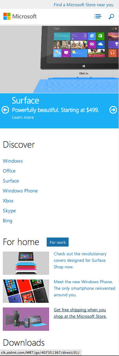 microsoft.com homepage for phones, responsive design, clean, simple