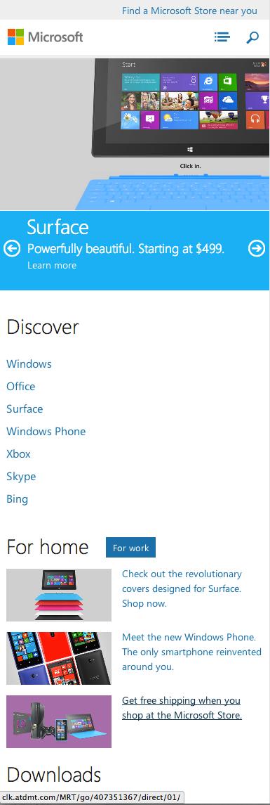 microsoft.com homepage for phones, responsive design, clean, simple