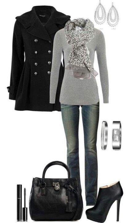 winter: black peacoat, gray sweater, gray scarf, dark bootcut jeans, heeled boots