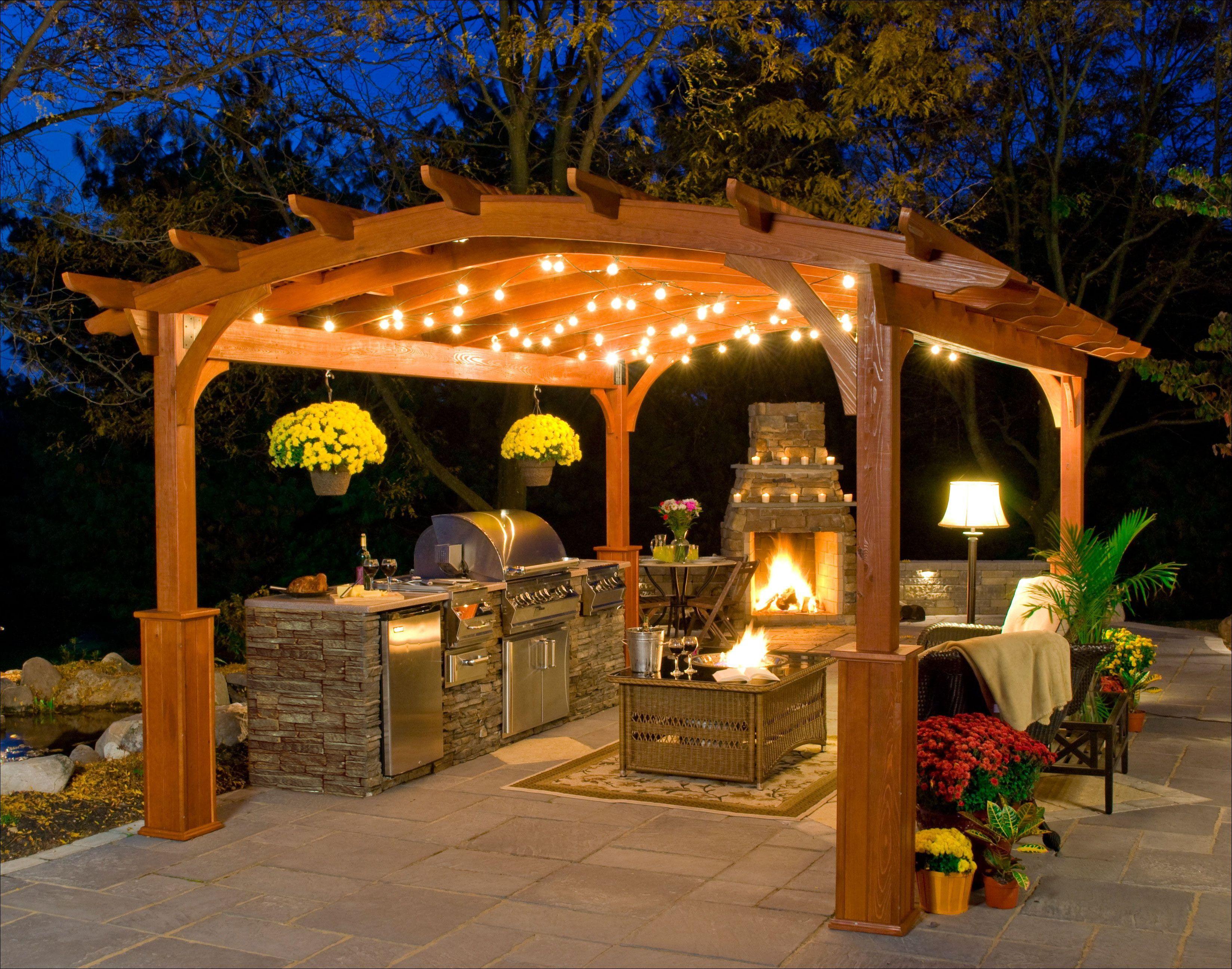 Custom Design Landscape Arbor Gazebo Fire Pit Outdoor Pergola Recettemoussechocolat Gazebo Lighting Outdoor Fireplace Designs Outdoor Gazebos