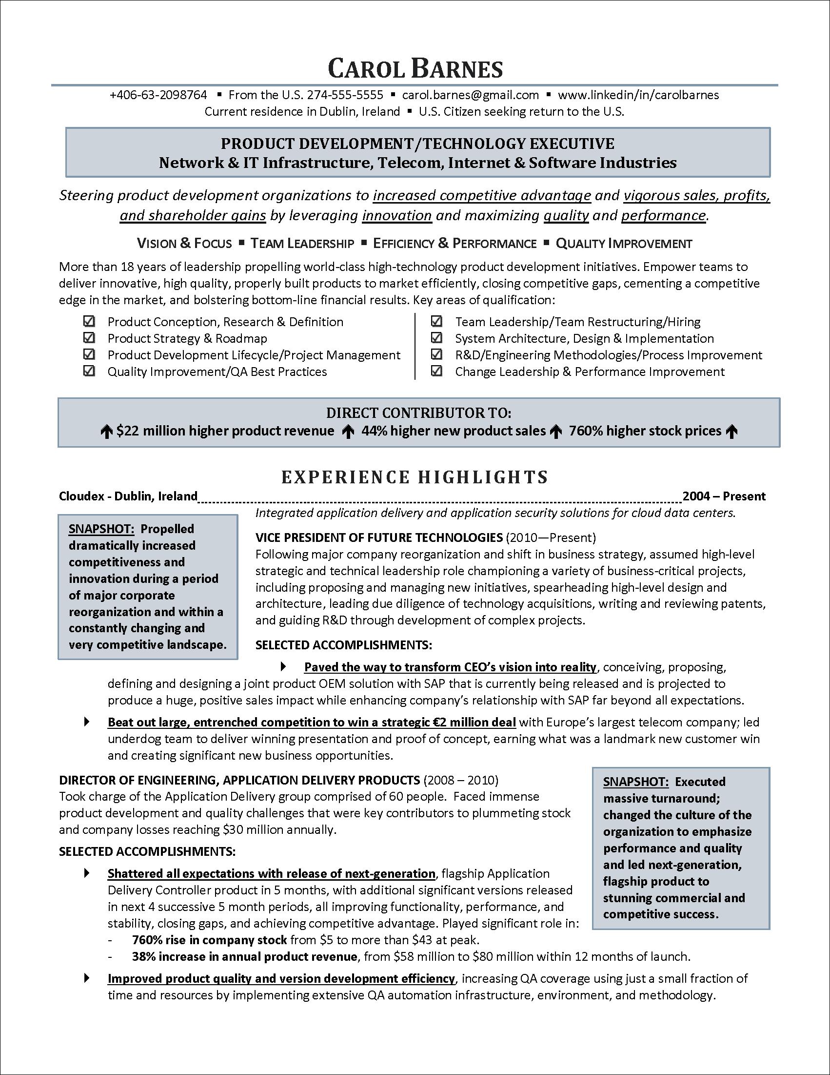 An information technology executive resume written for a U