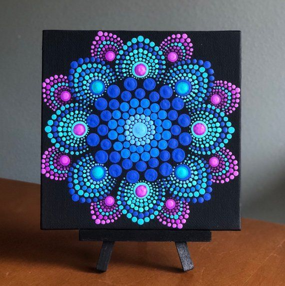 Photo of Flower burst dot mandala on black 6 x 6 canvas | Etsy
