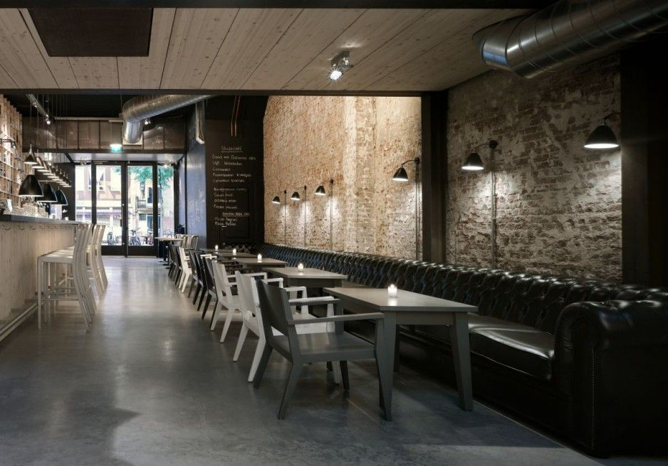 Fashionable Restaurant Interior Design Ideas With Wooden Mini Bar And Cozy  Black Long Sofa Also Gorgeous