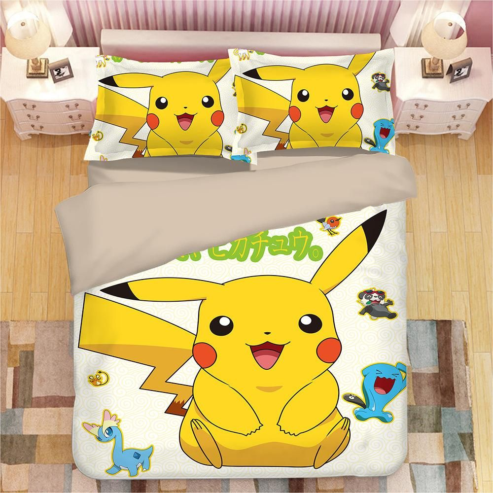 Pokemon Bedding Set Cartoon Kids Favorite Home Textile Pikachu In