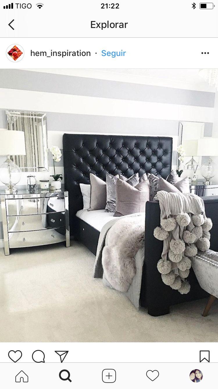 Black Leather Headboard Grey Bedding Bedroom Bed Interior Bedroom Interior Black Headboard Bedroom