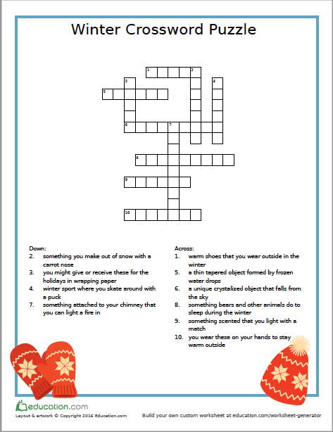 photograph relating to 3rd Grade Crossword Puzzles Printable named Winter season Crossword Puzzle- Totally free Printable HOMESCHOOL- 3rd