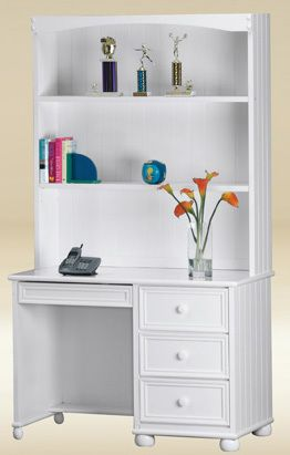 Beau Montclair White Computer Desk With Drawers
