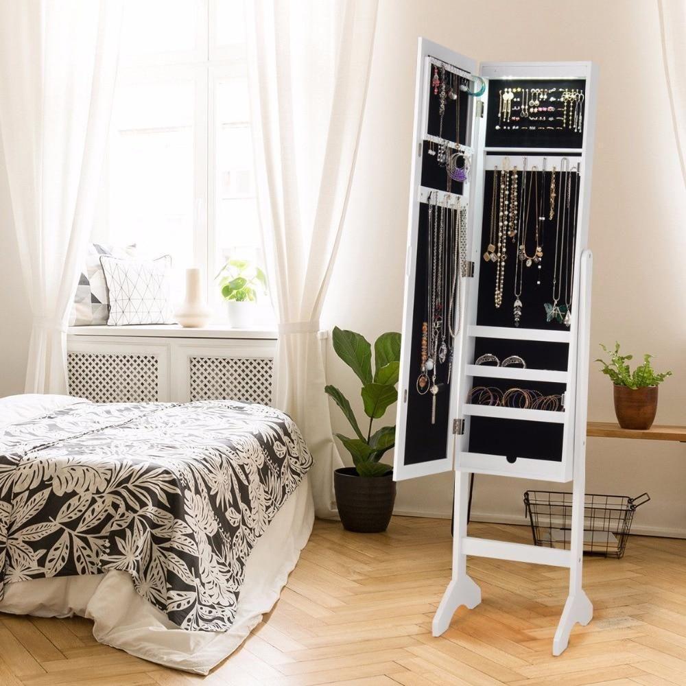 Modern Mirrored Jewelry Cabinet Armoire Organizer Storage ...