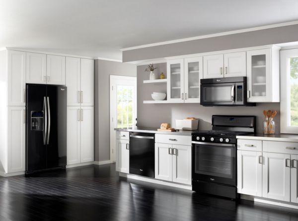 White Kitchen Units With Black Appliances