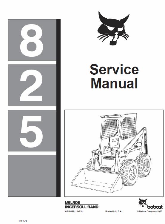 Bobcat 825 Skid Steer Loader Service Manual Skid Steer Loader Bobcat Bobcat Skid Steer