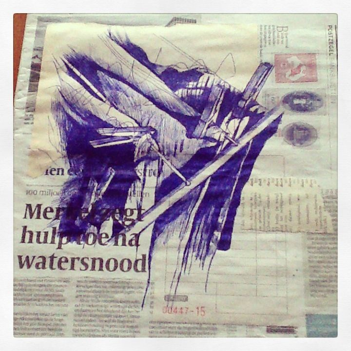 5th June - Washing away - bic and collage on newspaper