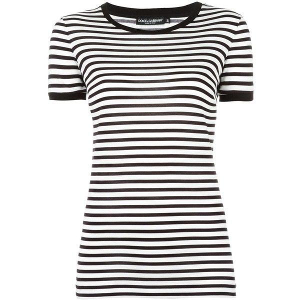 Dolce & Gabbana striped T-shirt (11.330 UYU) ❤ liked on Polyvore featuring tops, t-shirts, black, stripe t shirt, striped t shirt, patterned tops, pattern t shirt and striped top