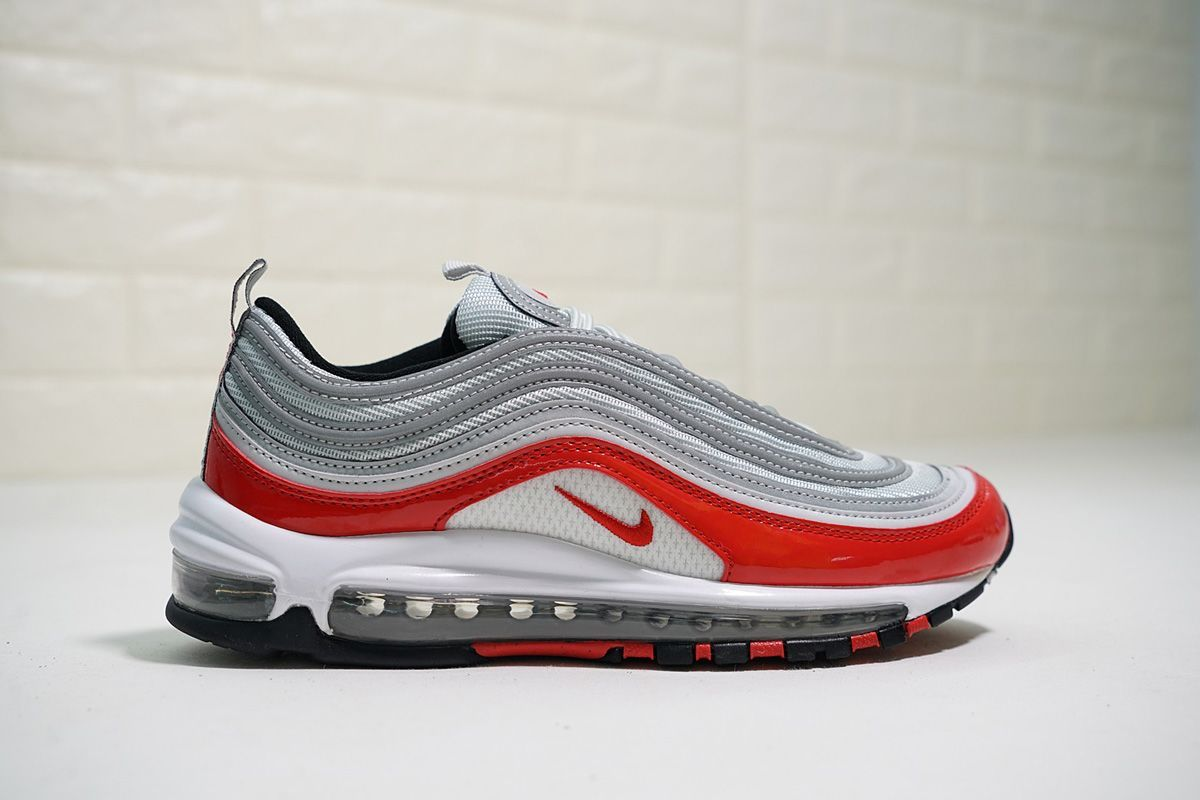 Nike Air Max 97 Dark Grey Wolf Grey Gym Red 921826 007 Women's Men's Casual Shoes 921826 007