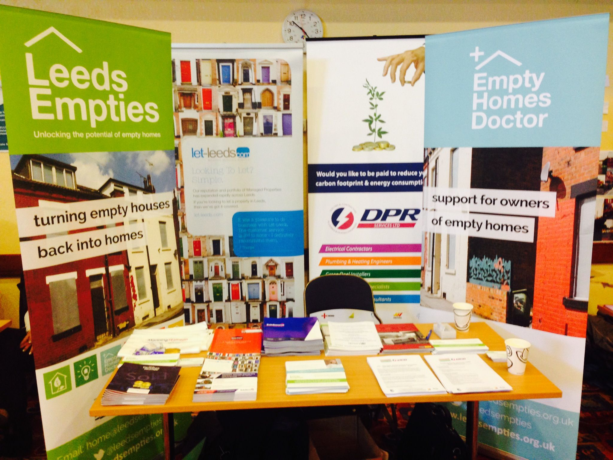 Setting up shop at Leeds Landlords Conference 2013.