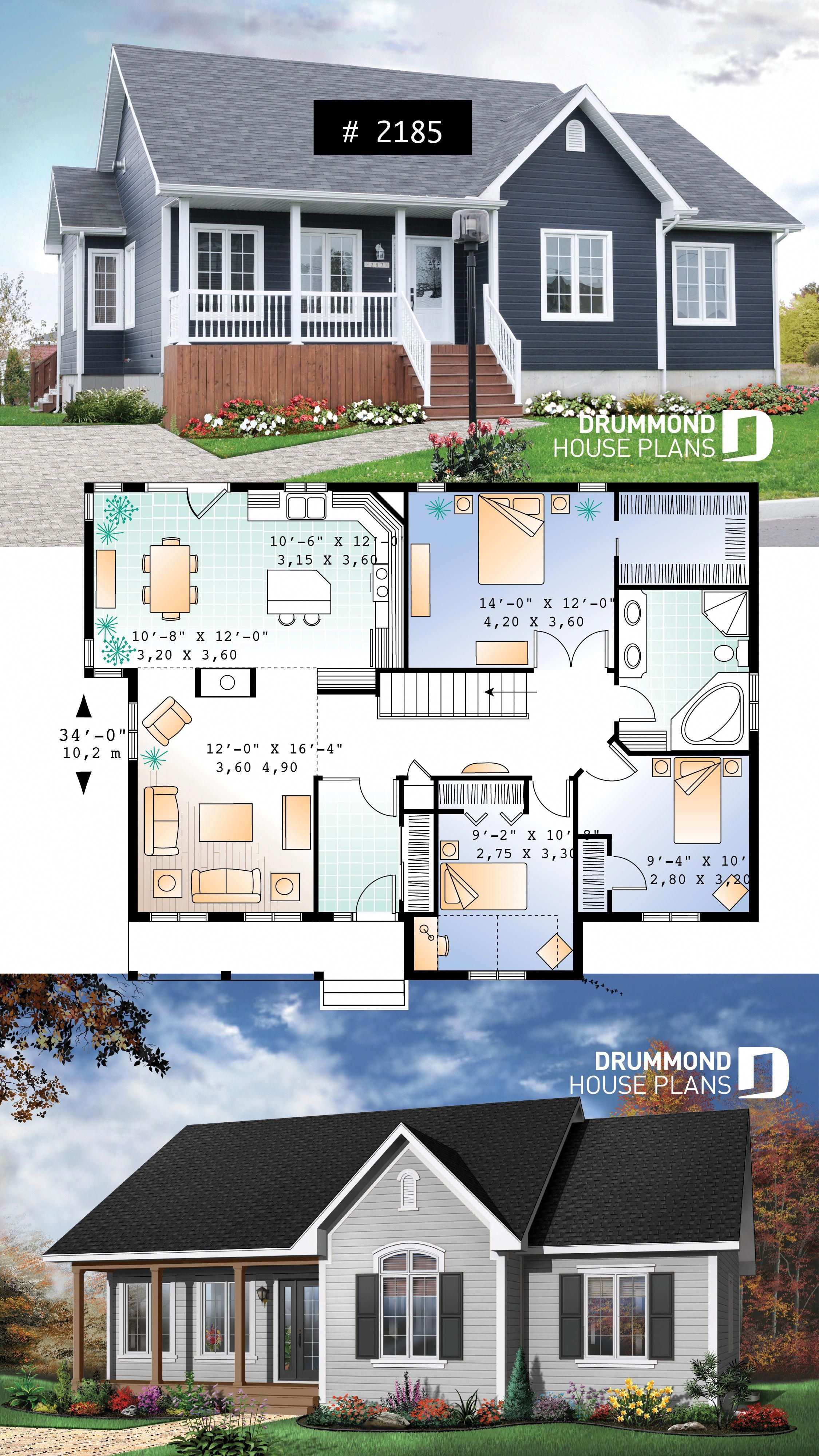 3 Bedroom Low Budget Bungalow House Plan Walk In In Master 2 Sided Fireplace 10 Celing In Family Drummond House Plans Sims House Plans Bungalow House Plans