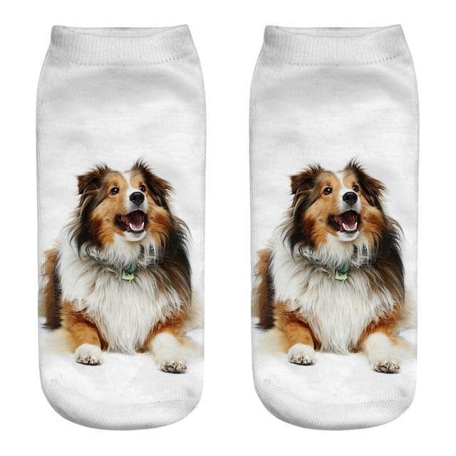 Fashion 3D printing dogs socks Alaska Husky Teddy Bichon