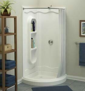 corner shower with curtain corner