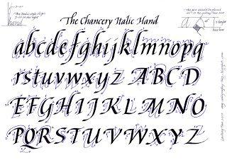 Calligraphy Alphabet The Chancery Italic Hand