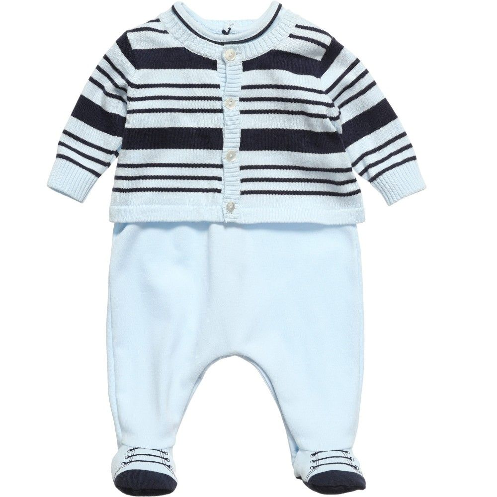 Emile et Rose baby boys blue soft jersey 'Dixen' babygrow with an embroidered logo and buttons on the front and the feet are designed to look like little shoes. It fastens with poppers at the back and between the legs for easy dressing and nappy changes. The babygrow comes with a navy blue striped knitted cardigan with pretty pearlescent buttons. Both items can be worn separately.<br /> <span><b>Model:</b><i>Height</i>56cm,<i>Age</i>6m</span><br /> <span><i>Size ...