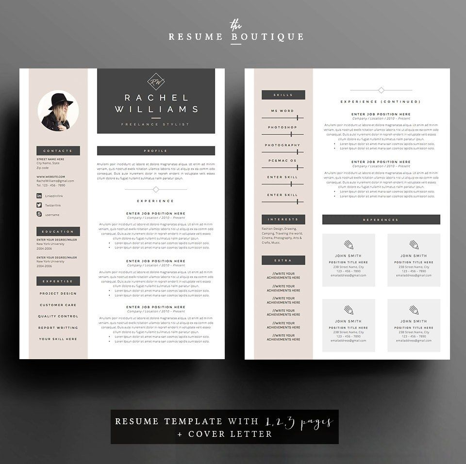 4 Page Resume Cv Template Cover Letter For Ms Word Etsy Cover Letter Cv Template Creative Cv