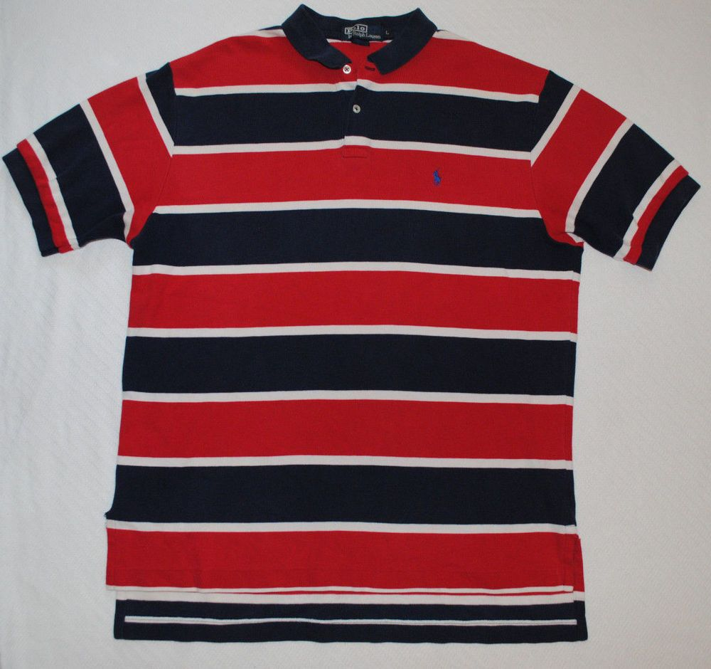 Polo ralph lauren red white blue striped polo shirt size for Red white striped polo shirt