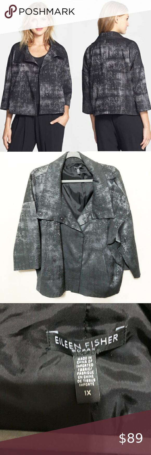Eileen Fisher Grandeur Jacquard High Collar Jacket Eileen Fisher Women S Charcoal Grandeur Jacquard High Collar B High Collar Jacket High Collar Clothes Design [ 1740 x 580 Pixel ]