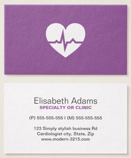 Medical doctor or healthcare business cards medical doctor modern cardiologist cardiology heart minimalist business card colourmoves Images