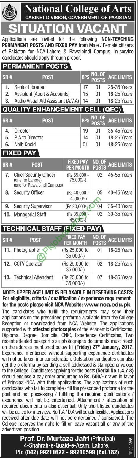 National College of Arts Jobs 2017 Application Form Download - army form