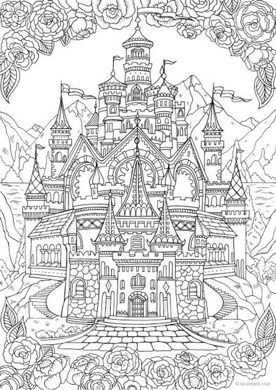 Castle Printable Adult Coloring
