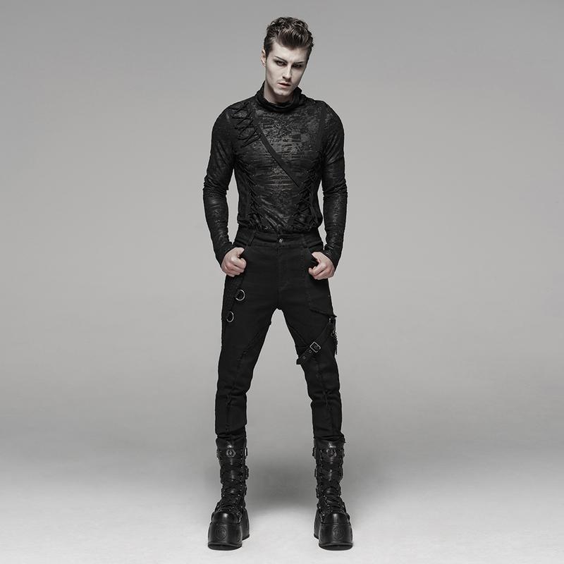 PUNK RAVE Schwarze Gothic Hose mit Riemen | BOUDOIR NOIR