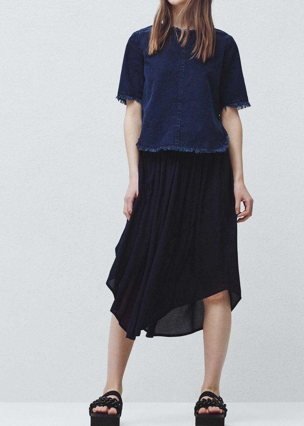 Струящаяся юбка -  Женская | MANGO МАНГО Россия (Российская Федерация)