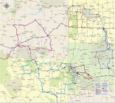 Image of Montana, Wyoming, North & South Dakota RoadMAP | Vacations ...