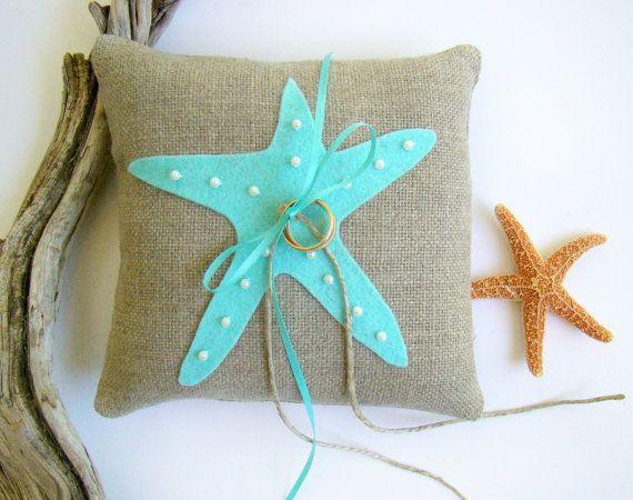 Beach Wedding Ring Bearer Pillow Starfish Wedding Aqua Ring Pillow
