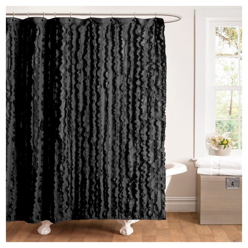 Modern chic shower curtain black lush decor products