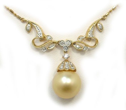 Golden South Sea Pearl Necklace With Diamonds 14k 18k Yellow Or White Gold