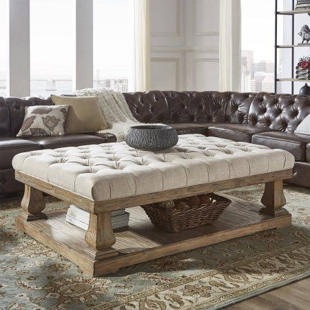 Weston Home Galvin Tufted Linen Cocktail Table Multiple Colors
