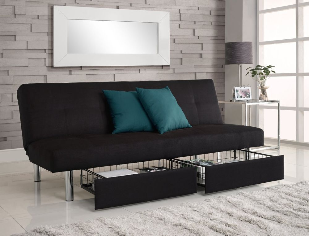 convertible futon couch sofa bed microfiber sleeper living room furniture black - Futon Living Room Set